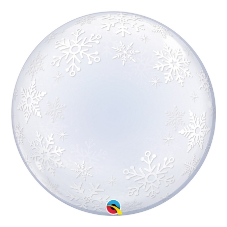 BALÃO DECO BUBBLE FLOCOS DE NEVE - 24 POLEGADAS  - QUALATEX #52005