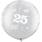 BALÃO LÁTEX 30 POLEGADAS DECORADO COM O NÚMERO 25  - PC 2UN - QUALATEX #29237