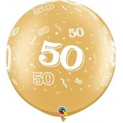 BALÃO LÁTEX 30 POLEGADAS DECORADO COM O NÚMERO 50  - PC 2UN - QUALATEX #29250