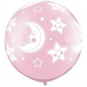 BALÃO LÁTEX BABY MOON & STARS-A-RND 30 POLEGADAS - PC 2UN - QUALATEX #32121
