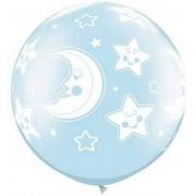 BALÃO LÁTEX BABY MOON & STARS-A-RND 30 POLEGADAS - PC 2UN - QUALATEX #32122