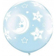 BALÃO LÁTEX BABY MOON & STARS-A-RND 30 POLEGADAS - PC 2UN - QUALATEX #32122