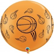 BALÃO LÁTEX BASKETBALL WRAP 3 PÉS - PC 2UN - QUALATEX #31324