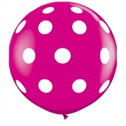 BALÃO LÁTEX BIG POLKA DOTS-A-RND 3 PÉS - PC 2UN - QUALATEX #26172