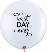 BALÃO LÁTEX BRANCO BEST DAY EVER 3 PÉS - PC 2UN - QUALATEX #88201