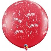 BALÃO LÁTEX I LOVE YOU-A-RND 3 PÉS - PC 2UN - QUALATEX #31324