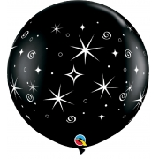 BALÃO LÁTEX PRETO SPARKLES & SWIRLS WRAP 3 PÉS - PC 2UN - QUALATEX #31358