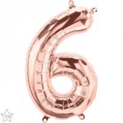 BALAO METALIZADO 16 POLEGADAS  NUMERO 6 OURO ROSE NORTH STAR #59113