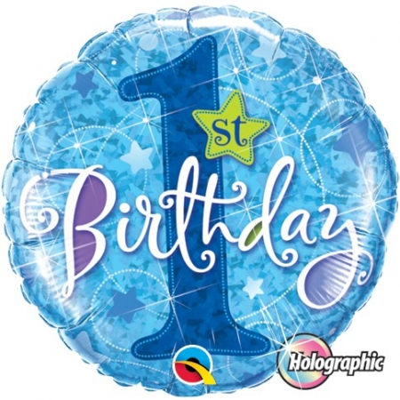BALÃO METALIZADO 18 POLEGADAS 1ST BDAY STAR BLUE QUALATEX #41592