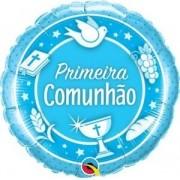 BALÃO METALIZADO 18 POLEGADAS COMUNHAO ROSA  QUALATEX #53490