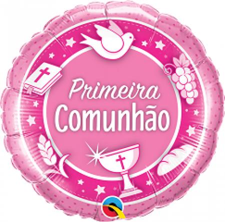 BALÃO METALIZADO 18 POLEGADAS COMUNHAO ROSA  QUALATEX #53497