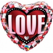 BALÃO METALIZADO 18 POLEGADAS CORAÇÃO LOVE TRIANGLES QUALATEX #46073
