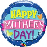 BALÃO METALIZADO 18 POLEGADAS HAPPY MOTHERS DAY EMBLEM BANNER - QUALATEX #55833