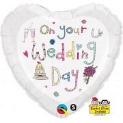 BALÃO METALIZADO CORACAO 18 POLEGADAS RE ON YOUR WEDDING DAY - QUALATEX #51679