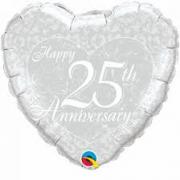 BALÃO METALIZADO CORAÇÃO - HAPPY 25TH ANNIVERSARY HEART - 18 POLEGADAS - QUALATEX #91937