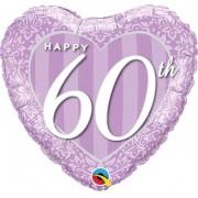 BALÃO METALIZADO CORAÇÃO - HAPPY 60TH DAMASK HEART - 18 POLEGADAS - QUALATEX #49132