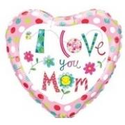 BALÃO METALIZADO CORAÇÃO RE I LOVE YOU MOM FLOWERS - 9 POLEGADAS - QUALATEX #90593