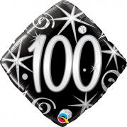 BALÃO METALIZADO DIAMANTE 18 POLEGADAS 100 FAÍSCAS E ESPIRAIS ELEGANTES QUALATEX #44438