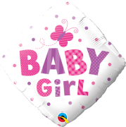 BALÃO METALIZADO DIAMANTE 18 POLEGADAS BABY GIRL DOTS & BUTTERFLY QUALATEX #14659