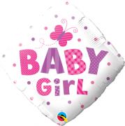 BALÃO METALIZADO DIAMANTE 18 POLEGADAS BABY GIRL DOTS & BUTTERFLY QUALATEX #14659