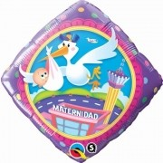 BALÃO METALIZADO DIAMANTE 18 POLEGADAS MATERNIDAD STORK DELIVERY QUALATEX #65539