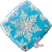 BALÃO METALIZADO DIAMANTE 18 POLEGADAS SNOWFLAKE SPARKLES BLUE QUALATEX #40089