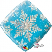 BALÃO METALIZADO DIAMANTE 18 POLEGADAS SNOWFLAKE SPARKLES BLUE QUALATEX #40089