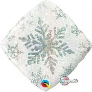 BALÃO METALIZADO DIAMANTE 18 POLEGADAS SNOWFLAKE SPARKLES WHITE QUALATEX #40091