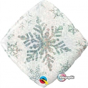 BALÃO METALIZADO DIAMANTE 18 POLEGADAS SNOWFLAKE SPARKLES WHITE QUALATEX #40091