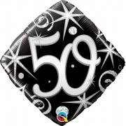 BALÃO METALIZADO DIAMANTE 50 FAÍSCAS E ESPIRAIS ELEGANTES - 18 POLEGADAS - QUALATEX #30017