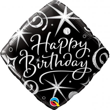BALÃO METALIZADO DIAMANTE HAPPY BIRTHDAY 18 POLEGADAS QUALATEX #29988