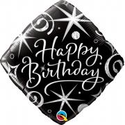 BALÃO METALIZADO - DIAMOND HAPPY BIRTHDAY - 18 POLEGADAS - QUALATEX  #29988