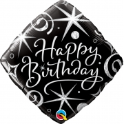 BALÃO METALIZADO - DIAMOND HAPPY BIRTHDAY - 18 POLEGADAS - QUALATEX  #29988