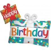 BALÃO METALIZADO HAPPY BIRTHDAY PRESENTES 39 POLEGADAS - QUALATEX #49383