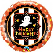 BALÃO METALIZADO HAPPY HALLOWEEN FANTASMA - 18 POLEGADAS QUALATEX  #43467