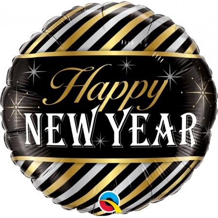 BALAO METALIZADO HAPPY NEW YEAR LISTRA DIAGONAL - 18 POLEGADAS - QUALATEX #43525