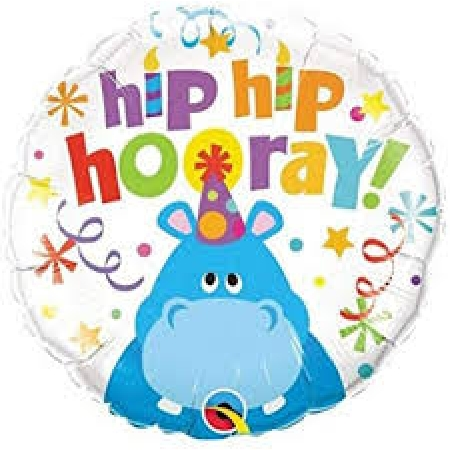 BALAO METALIZADO HIP HIP HOORAY HIPPO - 18 POLEGADAS - QUALATEX #26481