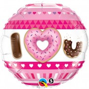 BALÃO METALIZADO - I LOVE U DONUTS - 18 POLEGADAS - QUALATEX #21829