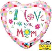 BALÃO METALIZADO I LOVE YOU MOM 18 POLEGADAS QUALATEX #78282