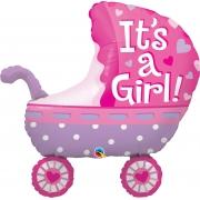 BALÃO METALIZADO ITS A GIRL BABY STROLLER - 35 POLEGADAS - QUALATEX #43289