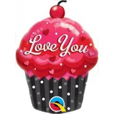 BALÃO METALIZADO - LOVE YOU CUPCAKE 14 POLEGADAS - QUALATEX #40129