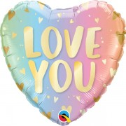 BALÃO METALIZADO LOVE YOU PASTEL OMBRÉ - 18 POLEGADAS - QUALATEX #97433