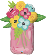 BALÃO METALIZADO MASON JAR BOUQUET 36 POLEGADAS - QUALATEX #47583