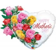 BALÃO METALIZADO MOTHERS DAY ROSE BOUQUET 35 POLEGADAS - QUALATEX #55882