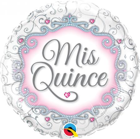 BALÃO METALIZADO REDONDO 18 POLEGADAS MIS QUINCE QUALATEX #49849