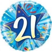 BALÃO METALIZADO REDONDO 21 ESTRELA BRILHANTE AZUL INTENSO  - 18 POLEGADAS - QUALATEX #25247