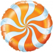 BALÃO METALIZADO REDONDO CANDY SWIRL ORANGE - 18 POLEGADAS - QUALATEX #17360