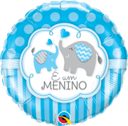 BALÃO METALIZADO REDONDO É UM MENINO ELEFANTES  - 18 POLEGADAS - QUALATEX #44549
