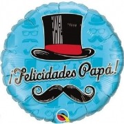 BALÃO METALIZADO REDONDO FELICIDADES PAPA TOP HAT - 18 POLEGADAS - QUALATEX #24333