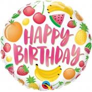 BALÃO METALIZADO REDONDO HAPPY BIRTHDAY-FRUTAS 18 POLEGADAS - QUALATEX #10264